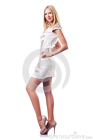 Tall attractive woman isolated
