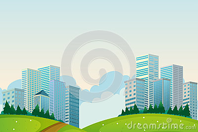 Tall buildings near the hills