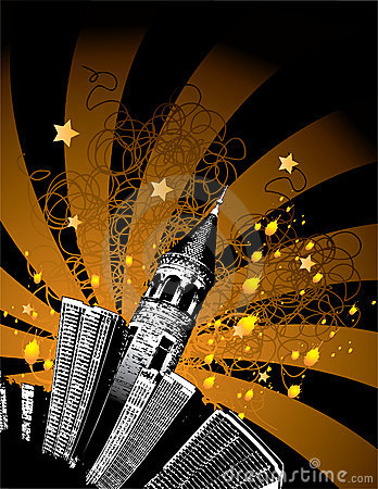 Tall city buildings and stars