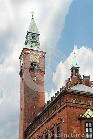 Tall clock tower of Copenhagen City Hall