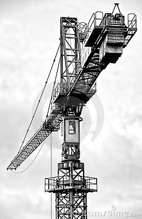 Tall construction crane