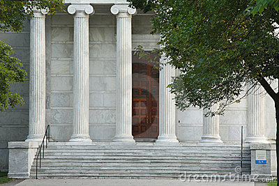 Tall Fluted marble pillars Editorial Photo