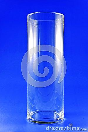Tall glass on blue