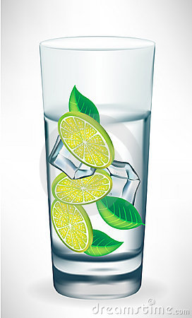 Tall glass of water with ice and lemon