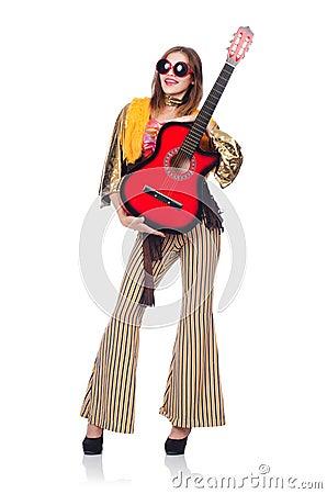 Tall guitar player