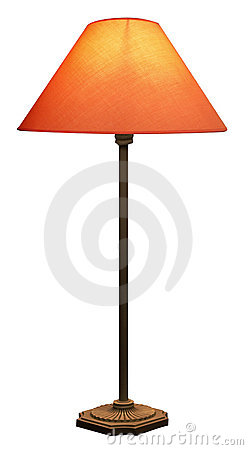 Tall Lamp with Orange Shade