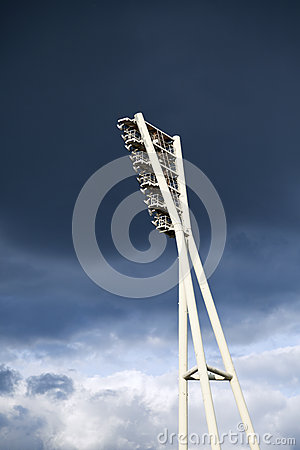 Stadium Lighting Tower and Cloudy Sky