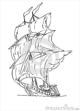 Tall masted sailing ship with sails