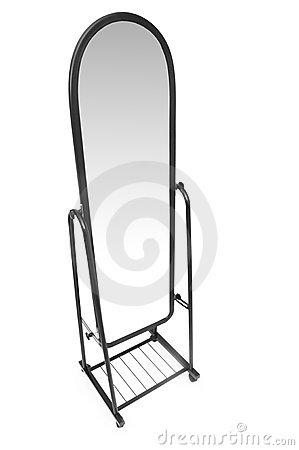 Tall mirror isolated on the white
