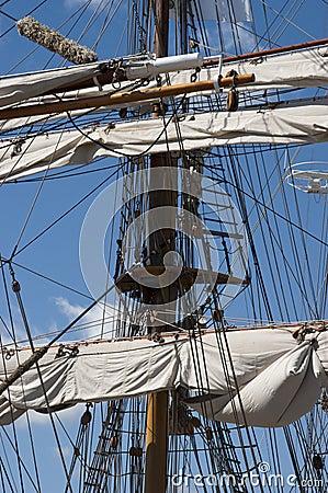 Tall Sailing Ship, Closeup Detail of Mast, Sails