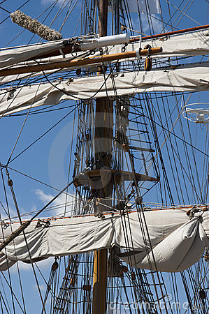 Free Tall Sailing Ship, Closeup Detail Of Mast, Sails Stock Photo - 16514780