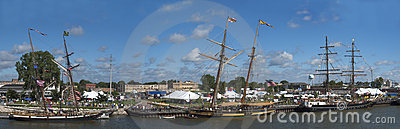 Tall Sailing Ship Festival Panoramic, Panorama Editorial Stock Image