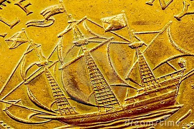Tall ship coin detail