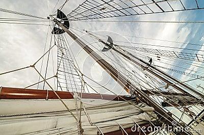 Tall ship mast and sail
