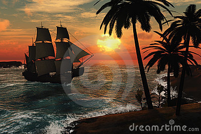 Tall Ship in Tropical Sunset