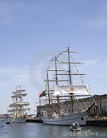 Tall Ships Mircea and Cisne Branco Editorial Stock Image