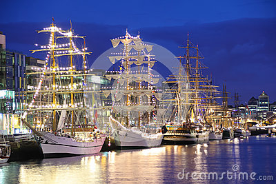 Tall Ships moored at the Liffey, Dublin