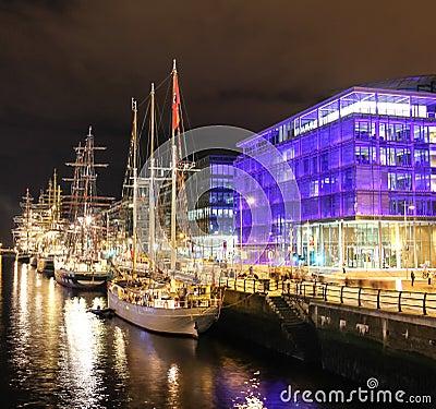 Tall ships moored at the liffey - Dublin