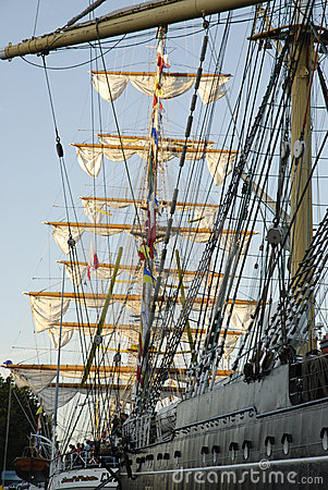 Tall ships in a port