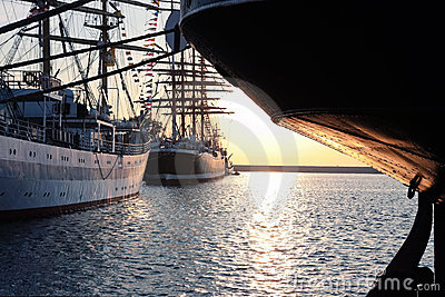 Tall ships on sunset Editorial Photography