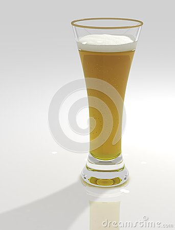Tall and sweaty glass of beer