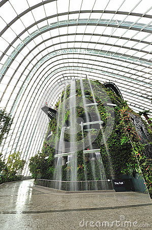 Tall waterfall at Gardens by the Bay