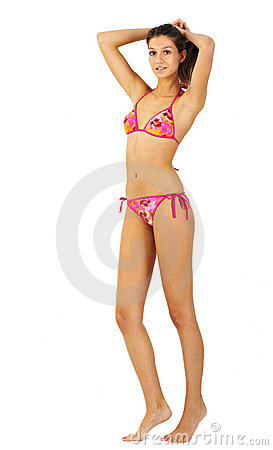 Tall young girl in bikini isolated