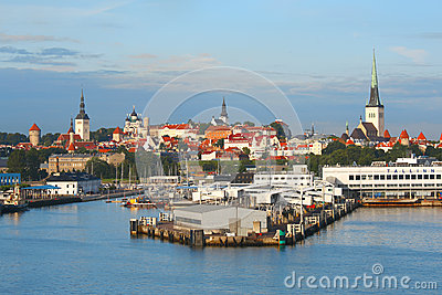 Tallinn with sea harbour