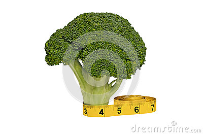Tallo y cinta métrica frescos del bróculi