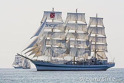 Tallship Mir under sail Editorial Stock Image