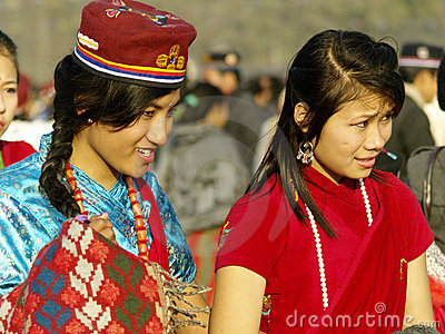 Tamang Girls Editorial Stock Image