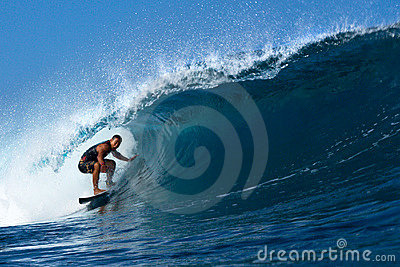 Tamayo Perry Surfing the Tube at Pipeline, Hawaii Editorial Image
