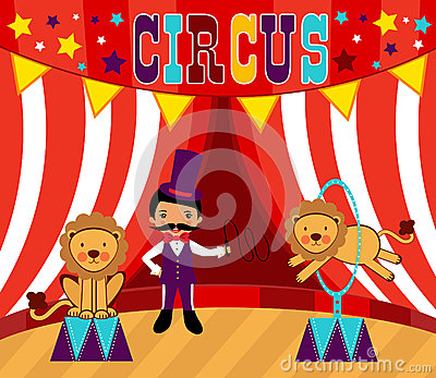Tamer and lions circus performance