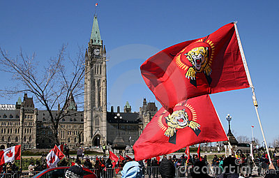 Tamil Flags with the Peace Tower Editorial Photo