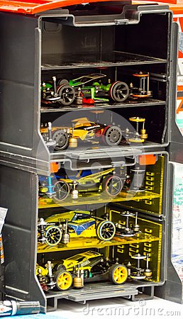 Free Tamiya Plastic,Model,Scale,Miniature,R/C,RC,racing Car In A Storage Container Box. Stock Image - 120668781