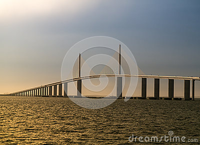 Tampa Bay s Sunshine Skyway Bridge at Sunset