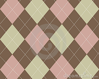 Tan, pink and brown argyle