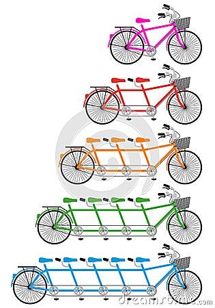 Tandem bicycle set, vector