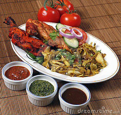 Free Tandoori Chicken In Plates Royalty Free Stock Photo - 8917875