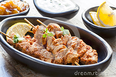 Tandoori Chicken Skewers Stock Photo
