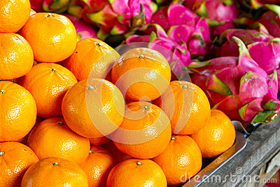 Tangerine fruits on the local market