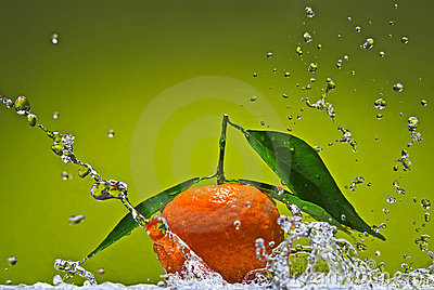 Tangerine with green leaves on green background