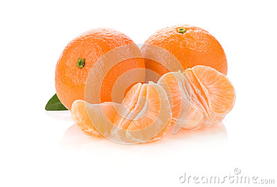 Tangerine orange fruit and slices on white