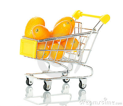 Tangerine in the shopping cart