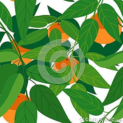 Tangerine tree seamless