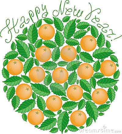 Tangerines in New Year  (vector)