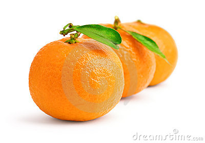 Tangerines on white