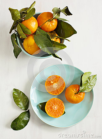 Free Tangerines With Leaves Stock Photo - 40464530