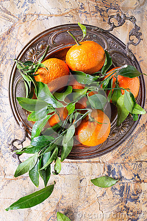 Free Tangerines With Leaves Stock Image - 62041831