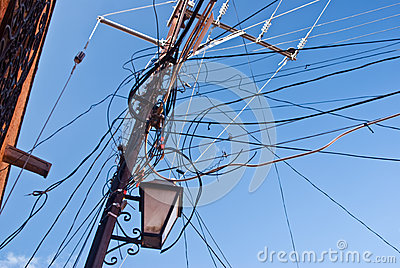 Tangle of power lines